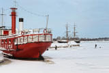 Lightship and Brig in Winter Harbor