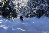 When a snowmobile passes you, you know it's time to turn around, which I did before I got stuck!