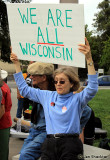Grace Marvin of Chico, Prof. Emeritus CSUC, in solidarity with union workers who have recently come under scrutiny in Wisconsin