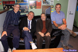Just before show-time: KZFR GM Rick Anderson (from left), Will Durst, Michael Parenti, Radio Parallax host Douglas Everett
