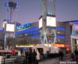 Nokia Theatre - there is a temporary skating rink just outside of the theater
