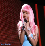 Nicki Minaj on the big screen, announcing Record of the Year nominees