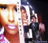 Bruno Mars on the big screen, announcing Best New Artist nominees