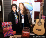 Before the show, Debra and Miranda by the autographed guitar, to raise funds for KZFR