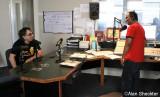 Mickey Hart and Sanjay Dev, host of reggae show, Devastation Sounds