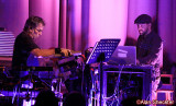 Mickey Hart and Ben Yonas amidst a lot of gear
