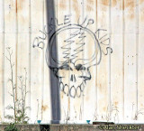 Old Grateful Dead graffiti on the building across the field
