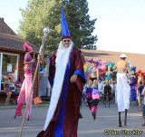 Festival parade, featuring the Samba Stilt Circus, Third Planet Ceremonial puppets and Chico's Wolfthump