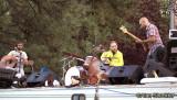 Members of Huckle jam atop an RV - Simon 'Huckle' Kurth, Ezra Lipp, Murph