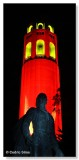 Coit Tower illuminated in 49ers colors