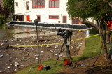 Dodson 5-9 TV broadcasting set up. Notice the sand bags set up alongside the house..jpg