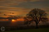 Sunset over distant Dartmoor