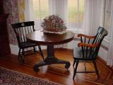 round dining roomtable at Bundy Hall