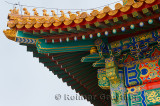 Detail of painted building and roof in the Hall of Supreme Harmony Square in Forbidden City Beijing