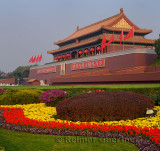 Flower garden at Tiananmen the Gate of Heavenly Peace entrance to Forbidden City Beijing China
