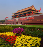 Flower garden at Tiananmen Gate of Heavenly Peace entrance to Imperial City Beijing China