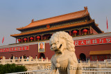 Stone lion at Tiananmen Gate of Heavenly Peace entrance to Imperial City Beijing China