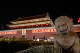 Stone lion at night Tiananmen Gate of Heavenly Peace entrance to Imperial City Beijing