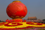 Special globe and flower decorations for 2011 National Day celebrations in Tiananmen Square Beijing