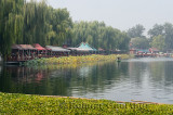 Willow trees and restaurants along Qianhai Lake in the Shichahai area of Beijing China