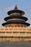 Three tiered marble base of Hall of Prayer for Good Harvests at Temple of Heaven Park Beijing at sunset