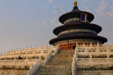 Tourist at Hall of Prayer for Good Harvests at Temple of Heaven Park Beijing at sunset