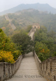 Evening view West towards tower 8 on the Great Wall of China in Fall at Mutianyu north of Beijing China