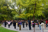 Morning exercises under trees in Zizhuyuan Purple Bamboo Park in Beijing on National holiday