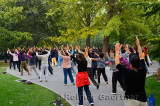 Older women exercising in Zizhuyuan Purple Bamboo Park in Beijing on National holiday