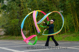 Colorful streamer waving instructor at Zizhuyuan Purple Bamboo Forest Park Beijing