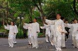 Morning Tai Chi exercise class under trees in Zizhuyuan Purple Bamboo Park in Beijing China