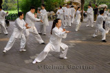Tai Chi class practicing moves under trees in Zizhuyuan Purple Bamboo Park in Beijing China