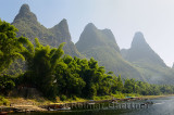 Steps to the Li river Guangxi China with fingerlike karst mountain peaks and bamboo