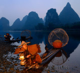 Cormorant fisherman starting lamp with birds on bamboo raft at dawn on the shore of the Li river Yangshuo China