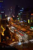 Night view of Qingchung road from Wanghu hotel in Hangzhou China