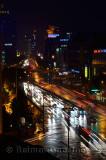 Lights of Qingchung road on a wet night from Wanghu hotel in Hangzhou China