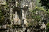 Limestone cliff at Feilai Feng with Buddhist sculptures at Ling Yin temple Hangzhou China