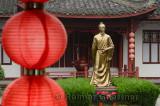 Statue of Lu Yu teamaster of China at Mei Jia Wu tea plantation Long Jing area of Hangzhou