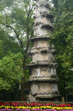 Ancient West Buddhist Dharani stone Pagoda Sutra pillar at Lingyin Temple in Hangzhou China