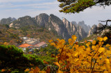 Beihai Hotel North Sea with pines yellow Fall foliage and Taiping cablecar Huangshan China