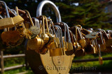 Love locks near near Dawn Pavillion Beihai hotel Mount Huangshan Yellow Mountain China