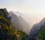 West Sea Group Peaks in the Fall at sundown on Huangshan Yellow Mountain China