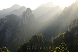 Streaks of morning light on Camel Back Peaks from Refreshing Terrace North Sea Huangshan Mountain China