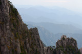 Receding mountain peaks at Stone Column Peak at the West Sea area Huangshan China