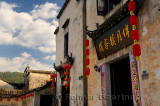 Red lanterns on ancient buildings at Half moon pond in Hongcun village China
