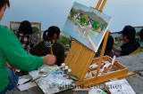 Oil Painting canvas on easel at South Lake in Hongcun World Heritage Site Anhui Province China