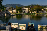 Student painters at South Lake in Hongcun World Heritage Site Anhui Province China
