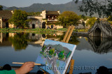 Painter canvas and easel at South Lake in Hongcun World Heritage Site Anhui Province China