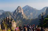 Pen Rack and Ascending Peaks at lookout for The Flower Growing Out Of A Writing Brush Rock Huangshan China