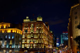 Colorful lights at night on the South Building Peace Hotel Nanjing road the Bund Shanghai China
